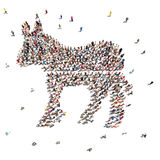 People who are Democrats . Large group of people forming the Democratic symbol on a white background Stock Photography