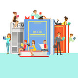 People Who Love To Read Reading Books Around Giant Books With Hard Cover And Newspaper Royalty Free Stock Photos
