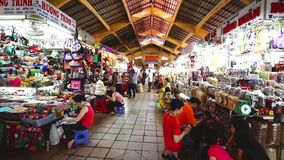 People who are shopping at Ben Thanh Night Market in Ho Chi minh. SAIGON, VIETNAM - NOVEMBER 01 : people who are shopping at Ben Thanh Night Market on November stock footage
