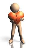 People who suffer from a broken heart. This is a computer generated image,on white background Stock Photos