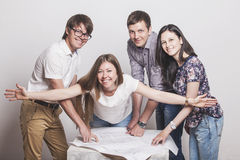 People who work with drawings on the table stock photography