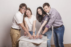 People who work with drawings on the table royalty free stock photography