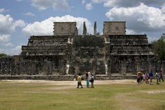 People a wild angle of the chichen itza temple tulum Royalty Free Stock Image