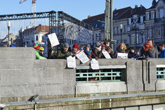 People will gather at bridge in Brussels to protest against fascism Royalty Free Stock Images
