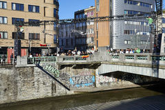 People will gather at bridge in Brussels to protest against fascism Stock Photography
