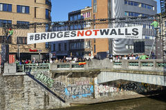 People will gather at bridge in Brussels to protest against fascism Stock Images