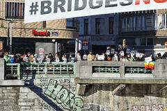 People will gather at bridge in Brussels to protest against fascism Stock Photo