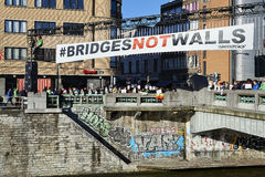 People will gather at bridge in Brussels to protest against fascism Royalty Free Stock Photography