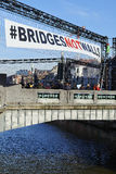 People will gather at bridge in Brussels to protest against fascism Royalty Free Stock Photo