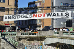 People will gather at bridge in Brussels to protest against fascism Royalty Free Stock Photos