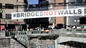 People will gather at bridge in Brussels to protest. stock video