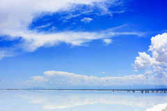 People will go to 55 places in their life:Qinghai chaka salt lake. The Chaka salt lake is known as the & x22; mirror of the sky& x22; by travellers, and is Stock Photo