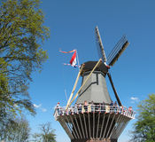 People wind mill Keukenhof Royalty Free Stock Image
