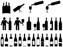 People with wine bottles Royalty Free Stock Image