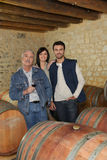 People in a wine cellar Stock Photo