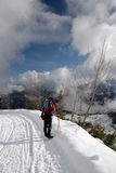 People winter backpacking Stock Images