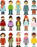 People winter characters stand set in flat style Stock Photo