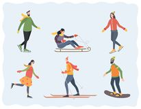 People in winter outdoor activities: skating, skiing, sledding and snowboarding. Vector illustration Royalty Free Stock Photo