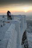 People and winter. Romantic winter, view, sunset, people embrace Stock Image