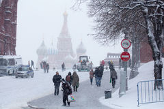 People on winter and stormy Red Square, February 03, 2015, Moscow, Russia Stock Images