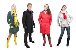 People  in wintry clothes Stock Photo