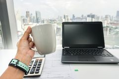 Free People With Coffee Mug During Tea Break At Office Stock Photography - 104521362