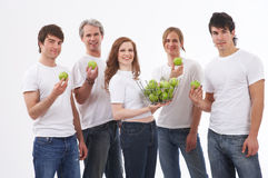 People With Green Apples Stock Photo