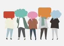 People With Speech Bubbles Illustration Royalty Free Stock Photography