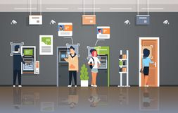 People withdrawing money ATM cash machine identification surveillance cctv facial recognition concept modern bank office. Interior security camera system stock illustration