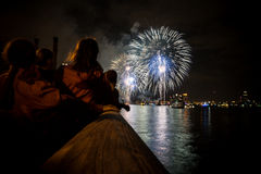 People witnessing fireworks stock photo