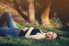 People, Woman, Grass, Fashion Stock Images