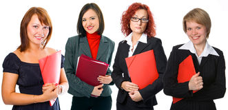 People woman group with folders Royalty Free Stock Images