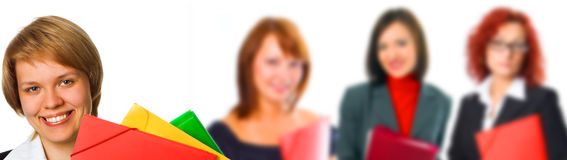 People woman group with leader Stock Image