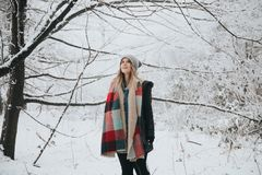 People, Woman, Tree, Branch, Snow Royalty Free Stock Photos