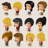 People Women Isometric Set Stock Photos