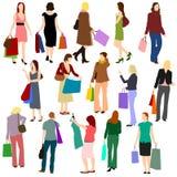 People - Women Shopping No.1. Illustration set of women shopping Royalty Free Stock Photo