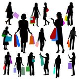 People - Women Shopping No.2. Illustrations set of silhoetted women shopping Royalty Free Stock Photo