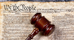 We the People. Wooden gavel on top of American Bill of Rights document, We the People Royalty Free Stock Photo