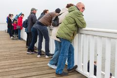 People at wooden pier Cuxhaven waiting for ferry to Helgoland. Royalty Free Stock Photo