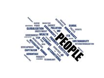 PEOPLE - word cloud wordcloud - terms from the globalization, economy and policy environment Royalty Free Stock Photography