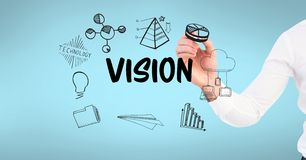 People with work business ideas graphic drawings Royalty Free Stock Image