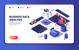People work with dashboard. Modern statistics technology, designer interacts with financial process charts. Landing web royalty free illustration