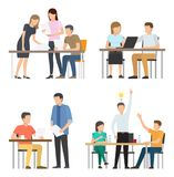 People Work on Fresh Startup around Table Set stock illustration
