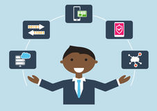 People at work: illustration of an IT security expert who is managing different tasks royalty free illustration