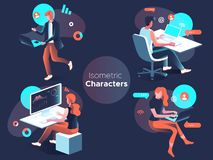 People work and interacting with graphs and devices. Data analysis and office situations. 3D Isometric vector illustration set. People work and interacting with royalty free illustration