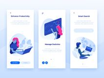 People work and interacting with graphs and devices. Data analysis and office situations. 3D Isometric vector illustrations. Mobile application templates vector illustration