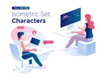 People work and interacting with graphs and devices. Data analysis and office situations. 3D Isometric vector illustration set. People work and interacting with vector illustration