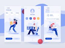 People work and interacting with devices. Data analysis and office situations. Flat illustration. Mobile app template. People work and interacting with graphs stock illustration