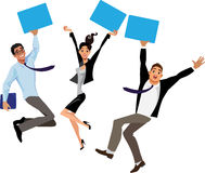 People at work jumping for joy, working team, successful transaction, luck, hands up Stock Photo