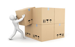 Person work with boxes Stock Photography